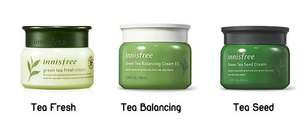 Innisfree Fresh Cream (bên trái), Innisfree Balancing Cream (ở giữa), Innisfree Seed Cream (bên phải)