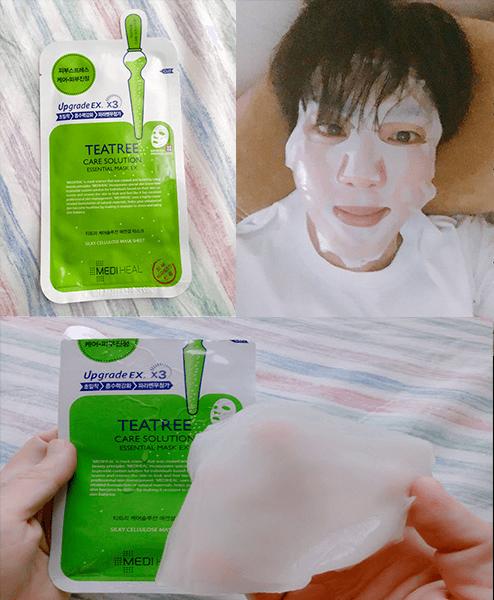 Sử dụng mặt nạ dưỡng ẩm Mediheal Teatree Solution Essential