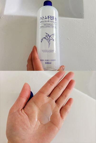 Kết cấu nước hoa hồng Muji nhẹ, dễ thẩm thấu để lại cảm giác tươi mát sau khi sử dụng