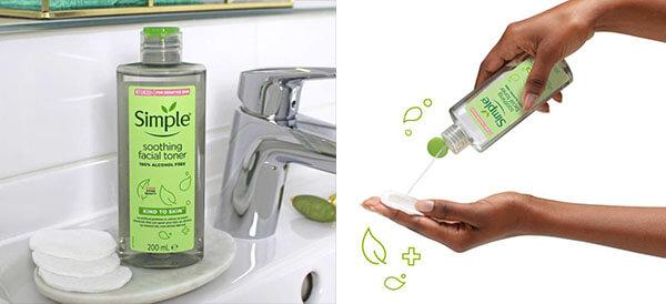 Toner Simple đem lại những dưỡng chất hàng đầu giúp làm sạch da mà không dùng cồn, an toàn lành tính