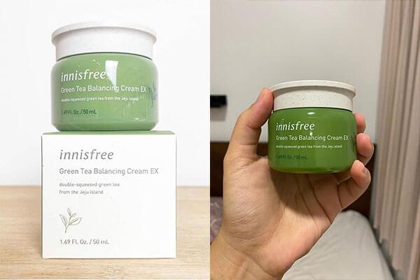 Kem dưỡng ẩm trà xanh Innisfree luôn ở thứ hạng cao trong top kem dưỡng ẩm cho da khô an toàn nhất