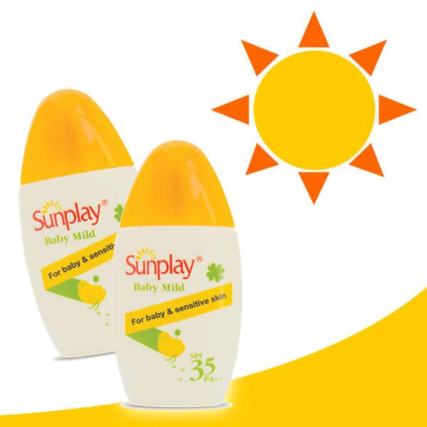 Làn da nhạy cảm được bảo vệ bởi Sunplay Baby Mild SPF35 PA++